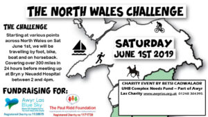 Thank you so much to Simon Sherriff, Team Leader, ICF Active Support Project, BCUHB and everyone who took part in the North Wales Challenge, on foot, bike, boat or horseback, covering over 300 miles in 24 hours! We were thrilled that you raised over £800 for us…THANK YOU!!